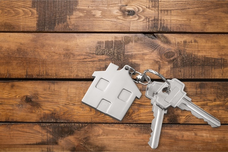 room for text: House, Key, House Key. Stock Photo