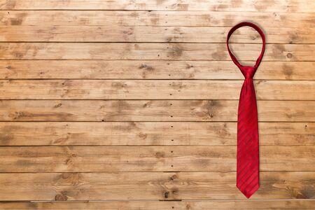 evening wear: Necktie, Red, White. Stock Photo