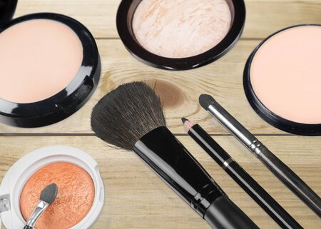 eyemakeup: Cosmetics, Make-up, Make-Up Brush. Stock Photo