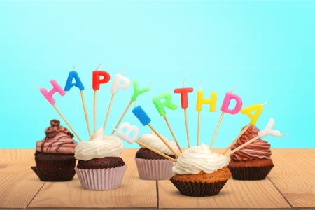 western script: Birthday, Birthday Cake, Cupcake.