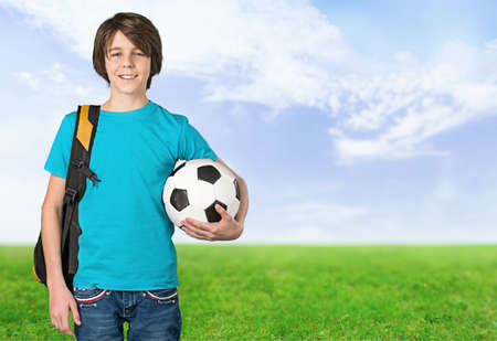 soccerball: Boy, play, smile.