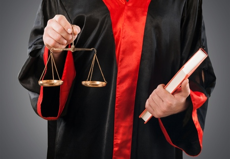 golden rule: Court, lawyer, legal. Stock Photo