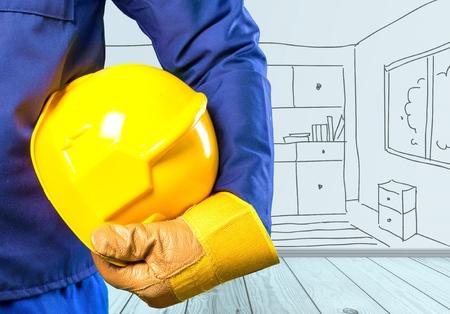 yellow helmet: Yellow, helmet, worker. Stock Photo