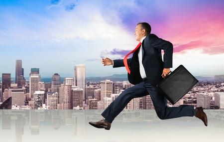 briefcase: Running, Men, Business.