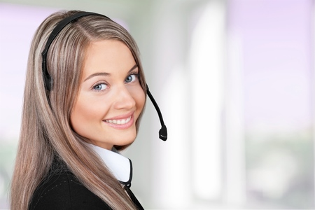 empleado de oficina: Mujeres, Servicio, Telefonista. Foto de archivo