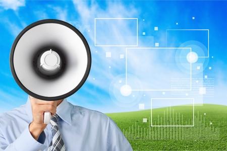 using voice: Megaphone, Using Voice, Advertisement.