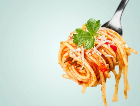 pasta sauce: Pasta, Fork, Spaghetti. Stock Photo