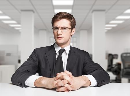 job interview: Interview, job, serious.
