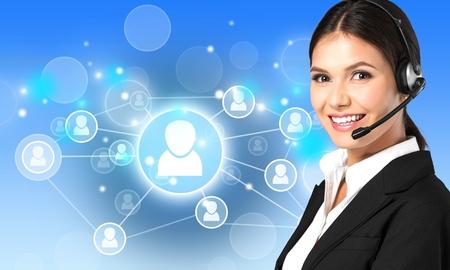 Customer, operator, helpdesk. 스톡 콘텐츠