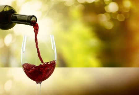 wine glass: Wine, Pouring, Glass. Stock Photo