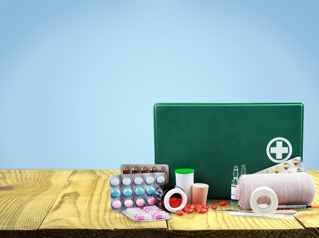 First Aid Kit, First Aid, Bandage. Stock Photo