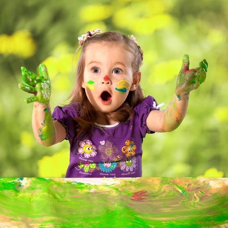 mischief: Child, Little Girls, Playing. Stock Photo