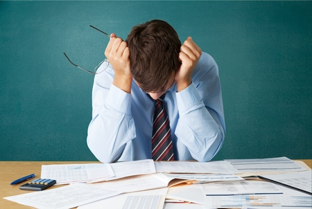 worried businessman: Emotional Stress, Bankruptcy, Finance.