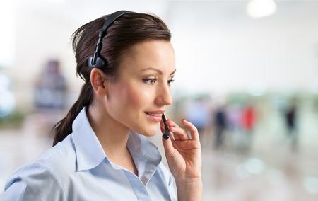 sales call: Call Center, Customer Service Representative, Connection. Stock Photo