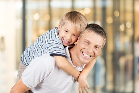 bluesky: Father, Son, Fathers Day. Stock Photo