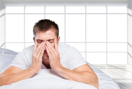 sleeping: Sleeping, insomnia, men. Stock Photo