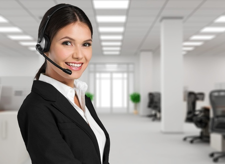 customer support: Customer, operator, helpdesk. Stock Photo