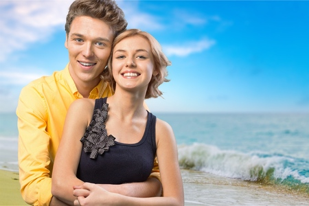 family portrait: Couple, Happiness, Cheerful. Stock Photo