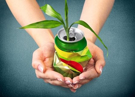 crushed aluminum cans: Recycling, Recycling Symbol, Can. Stock Photo