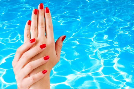 bodypart: Nail, polish, red. Stock Photo