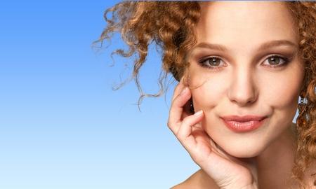 Femmes, Beauté, Visage. Banque d'images