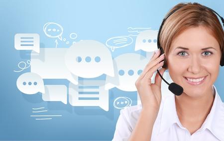 コール センター、カスタマー サービス担当者、サービス。 写真素材