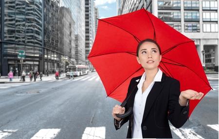 red umbrella: Umbrella, Women, Business.