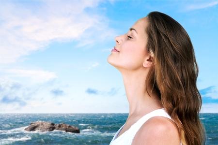 Breathe, breath, woman. Banque d'images