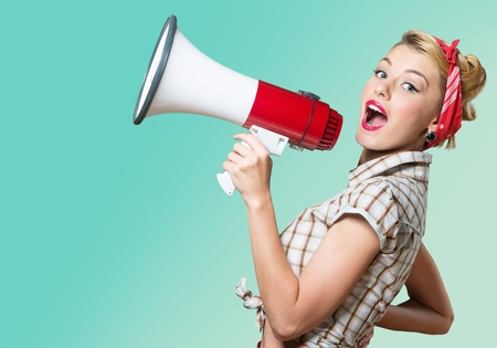 Megaphone, Women, Shouting. Foto de archivo