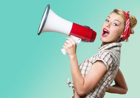 Megaphone, Women, Shouting. Archivio Fotografico