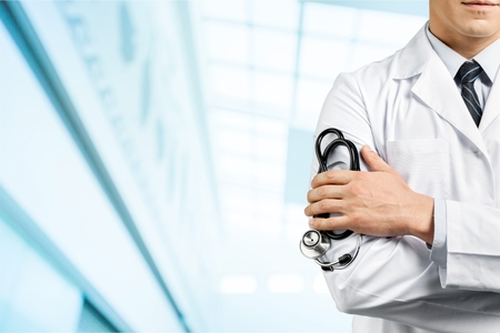 instrumental medico: Doctor, paciente, médico. Foto de archivo