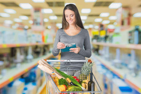 coupon: Coupon, Supermarket, Groceries. Stock Photo