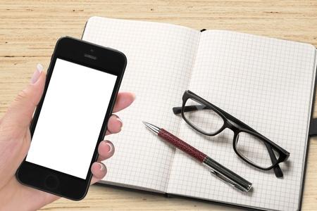 electronic organizer: Smart Phone, Human Hand, Telephone.