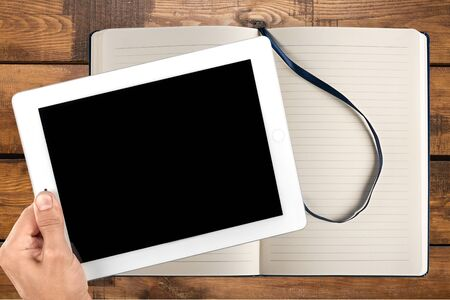 pc screen: Ipad, Digital Tablet, Human Hand. Stock Photo