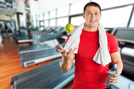 only mid adult men: Men, Exercising, Healthy Lifestyle. Stock Photo
