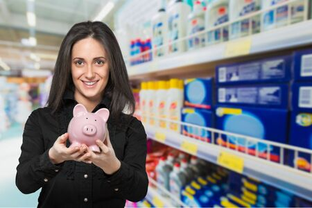 bacon portrait: Savings, Women, Piggy Bank. Stock Photo