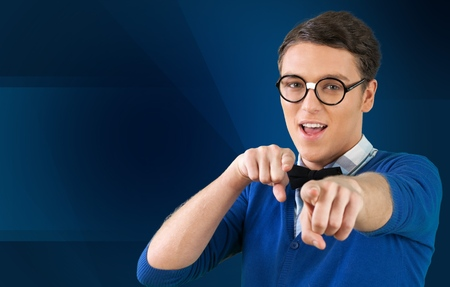 car salesperson: Car Salesperson, Nerd, Sales Occupation. Stock Photo