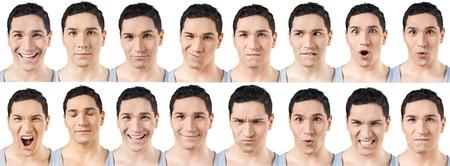 gestos de la cara: Cara humana, Expresión facial, Hombres.