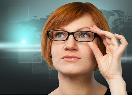 optometrist: Optometrist, Glasses, Eyewear. Stock Photo