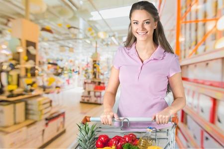 vertical fridge: Supermarket, Groceries, Shopping. Stock Photo