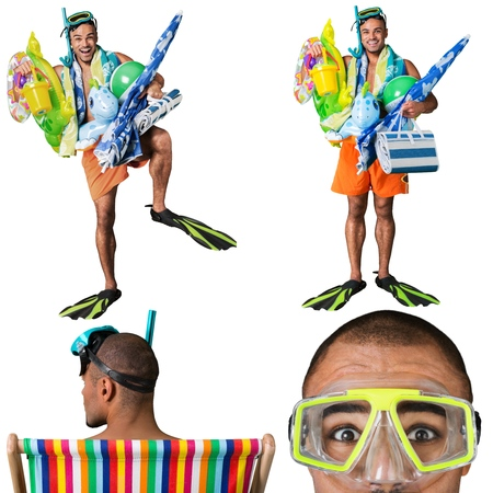 funny people: Humor, Tourist, Beach. Stock Photo