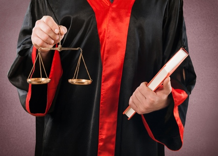 lawyer in court: Court, lawyer, legal. Stock Photo