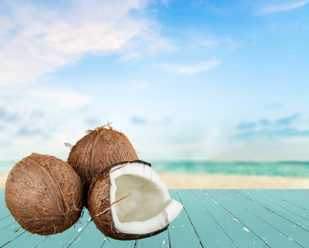 a pair of: Coconut, Fruit, Pair. Stock Photo