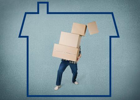 actividad fisica: Mudanza, caja, Actividad F�sica. Foto de archivo