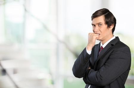 facial   expression: Thinking, Facial Expression, Men. Stock Photo