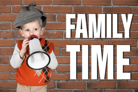 using voice: Family time, Megaphone, Child. Stock Photo