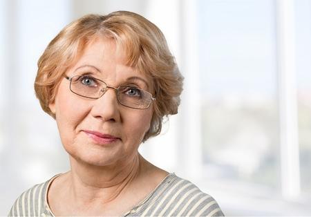 80 plus years: Senior Adult, Grandmother, Smiling. Stock Photo