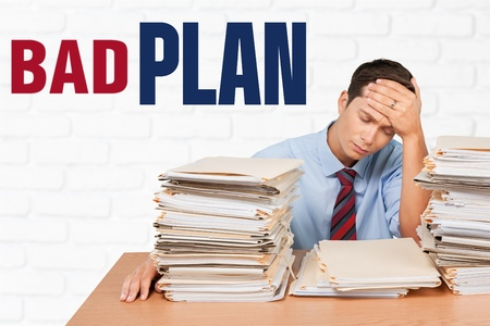 office physical pressure paper: Plan, Document, Stack. Stock Photo