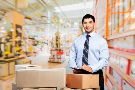 Business, courier, men. Stock Photo