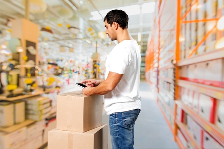 courier: Distribution, courier, men. Stock Photo